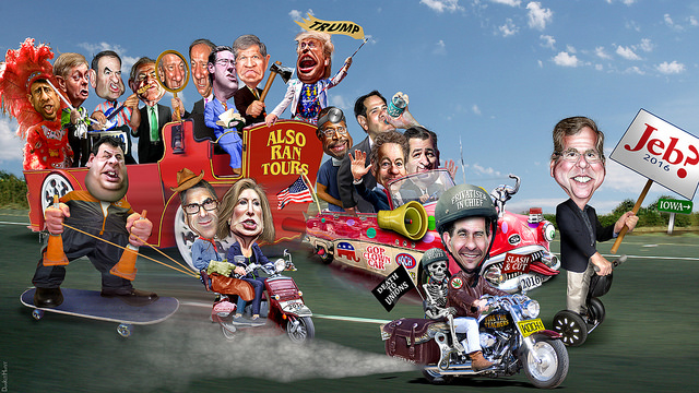 2016 Republican Clown Car Parade - 17 Candidates On The Road To Iowa