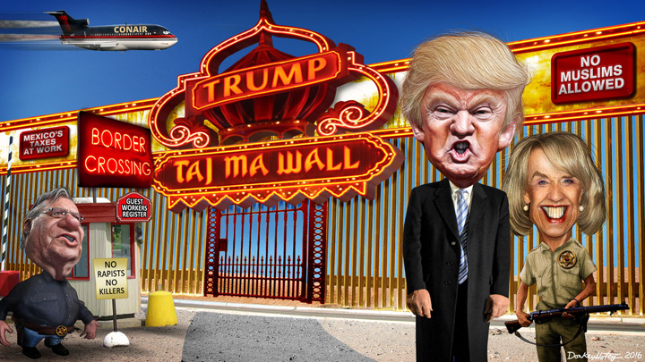 Donald Trump's Taj Ma WALL by Donkey Hotey
