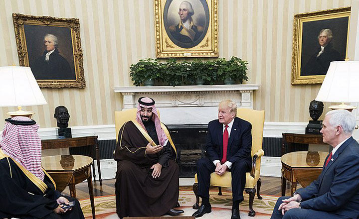 President Donald Trump meets with Mohammed bin Salman bin Abdulaziz Al Saud, Deputy Crown Prince of Saudi Arabia, and members of his delegation, Tuesday, March 14, 2017, in the Oval Office of the White House in Washington, D.C.