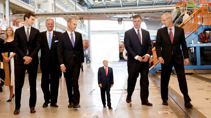 The World's Tiniest President, Donald J. Trump and advisors tour the Boeing Aircraft Factory