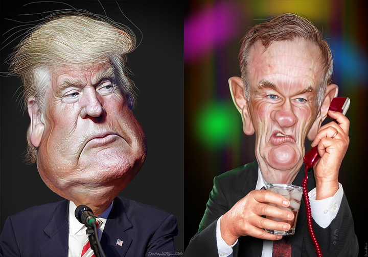Donald Trump and Bill O'Reilly - Caricatures