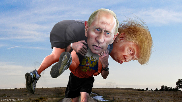 Vladimir Putin carrying his buddy Donald Trump