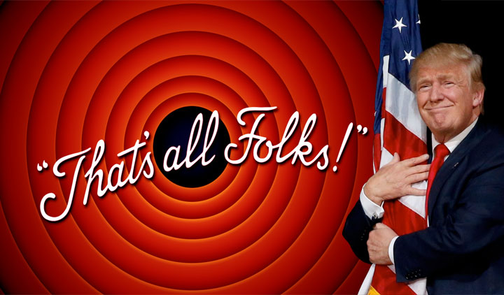 """""""That's All Folks!&Rdquo; — President Donald J. Trump wraps the flag in himself."""