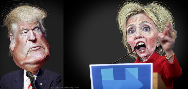 Donald Trump / Hillary Clinton- Caricatures