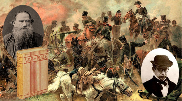 Tolstoy, his book, Kitman, and the Artillery battery of Captain Tushin at the Battle of Schöngrabern (painting by Nikolay Karazin)