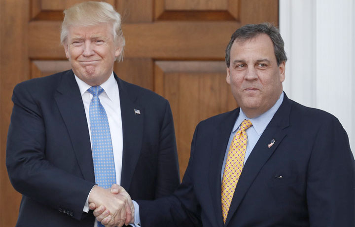 President Trump thanks Governor Christie for stopping by.
