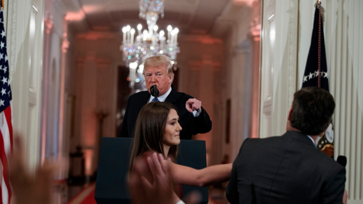 A brave young White House intern protects her president from an unruly cable (fake) news reporter, November 7, 2018