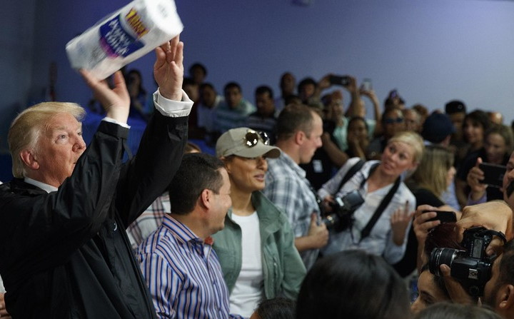 President Donald Trump Pelts a Crowd in Puerto Rico with Rolls of Off-Brand Paper Towels