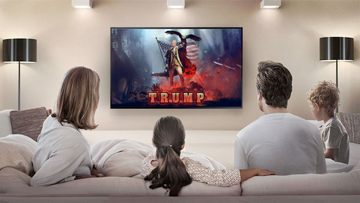 A typical American family watching the President on TV